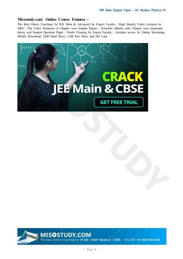 Modern Physics Sample Paper for JEE Main 2019