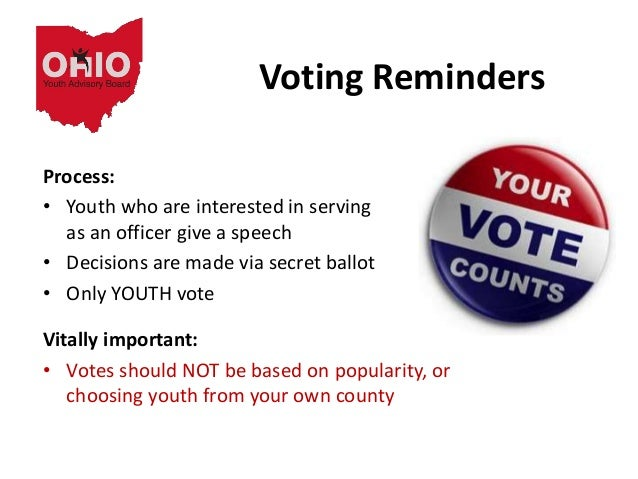 Voting Reminders Process: • Youth who are interested in serving as an officer give a speech • Decisions are made via secre...