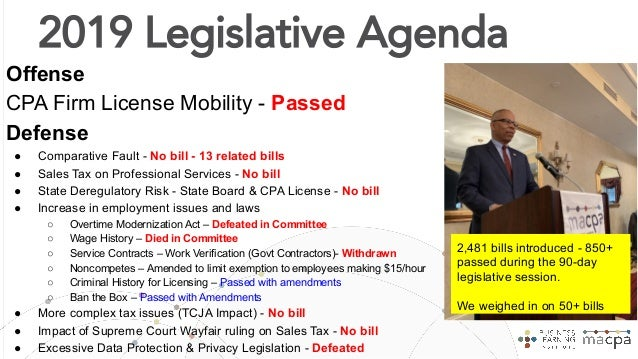 Legislative Advocacy - One of the best regulatory environment for CPA Firms in the US! ● Individual & Firm License Mobilit...