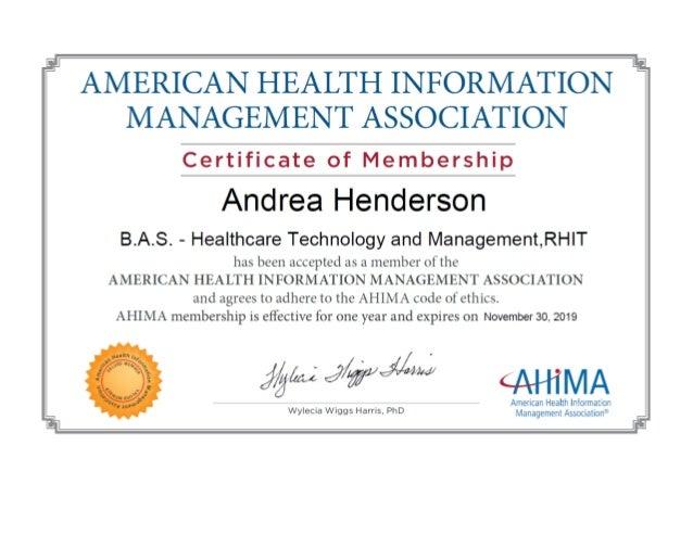 ahima certificate membership