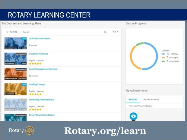 ROTARY LEARNING CENTER Rotary.org/learn
