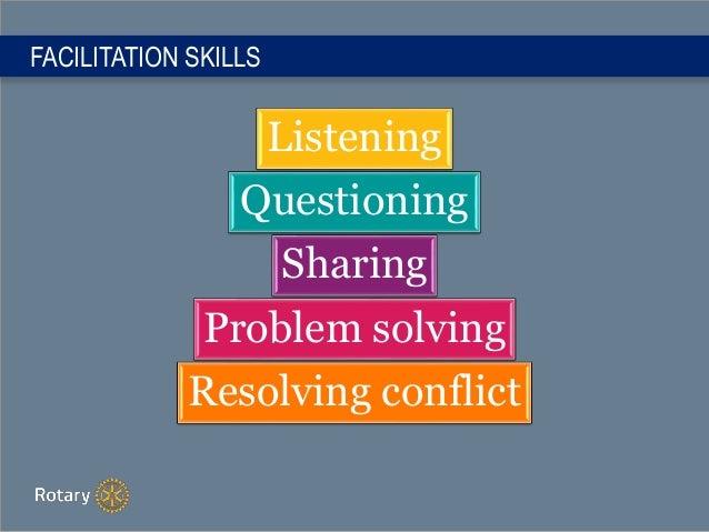 FACILITATION SKILLS Listening Questioning Sharing Problem solving Resolving conflict