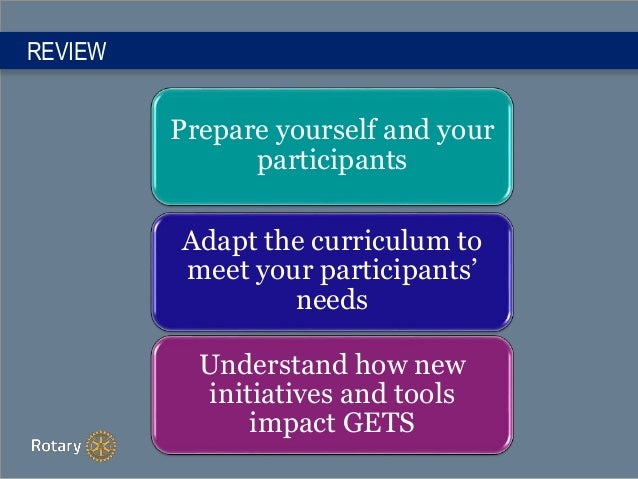 REVIEW Prepare yourself and your participants Adapt the curriculum to meet your participants' needs Understand how new ini...