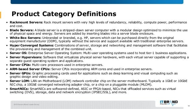2019 Servers Brand Leader Survey 11 Product Category Definitions • Rackmount Servers: Rack mount servers with very high le...