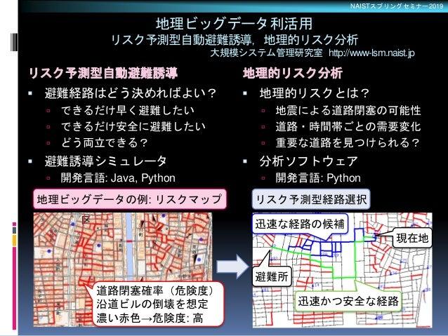 NAISTスプリングセミナー2019 リスク予測型自動避難誘導 地理的リスク分析  避難経路はどう決めればよい?  できるだけ早く避難したい  できるだけ安全に避難したい  どう両立できる?  避難誘導シミュレータ  開発言語: J...