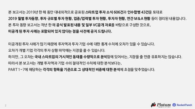 2019 한국 스타트업 투자동향 보고서, 플래텀 로켓펀치 Slide 2