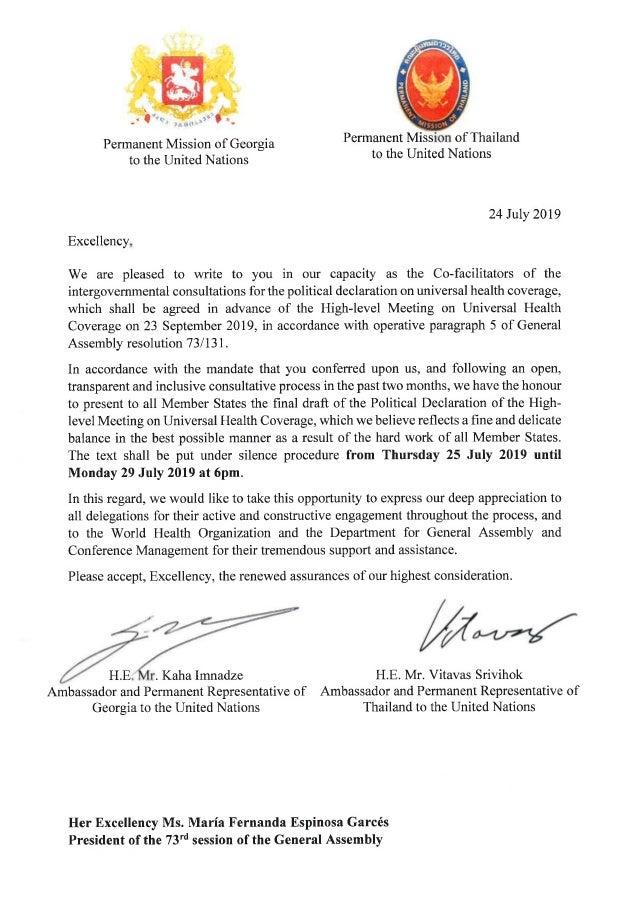 2019 UN final UHC Political declaration and letters