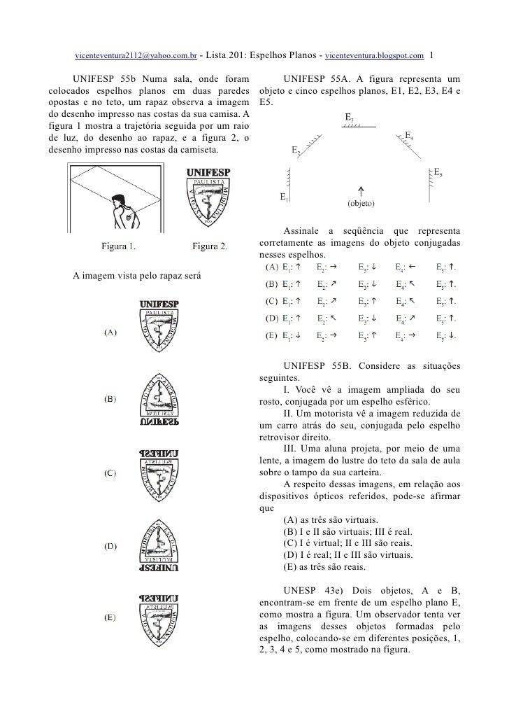 vicenteventura2112@yahoo.com.br - Lista 201: Espelhos Planos - vicenteventura.blogspot.com 1        UNIFESP 55b Numa sala,...