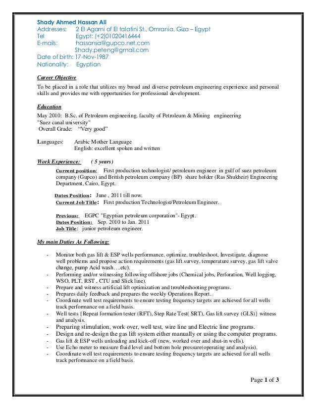 Shady Ahmed Hassan production technologist CV