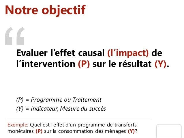Notre objectif Evaluer l'effet causal (l'impact) de l'intervention (P) sur le résultat (Y). (P) = Programme ou Traitement ...