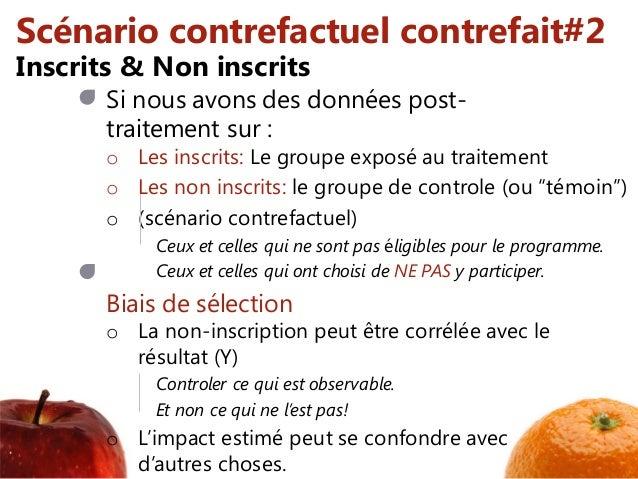 Scénario contrefactuel contrefait#2 Si nous avons des données post- traitement sur : o Les inscrits: Le groupe exposé au t...