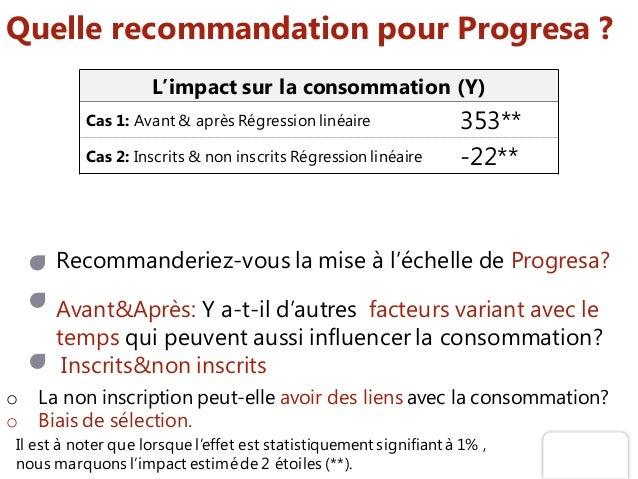Quelle recommandation pour Progresa ? Recommanderiez-vous la mise à l'échelle de Progresa? Avant&Après: Y a-t-il d'autres ...