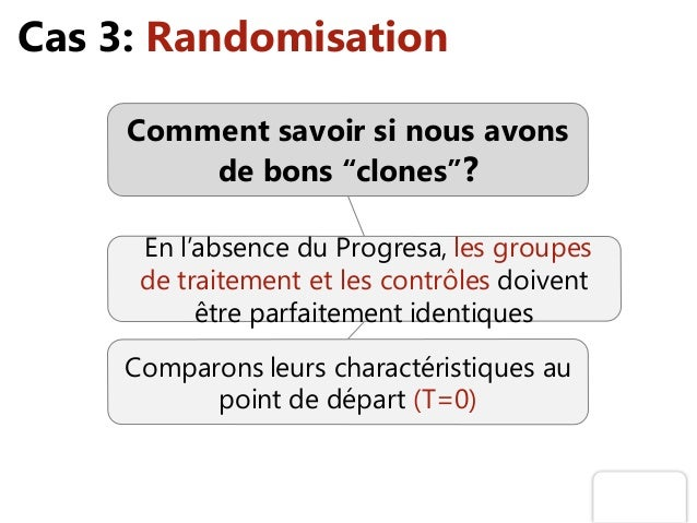 """Cas 3: Randomisation Comment savoir si nous avons de bons """"clones""""? En l'absence du Progresa, les groupes de traitement et..."""