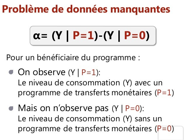 Problème de données manquantes Pour un bénéficiaire du programme : α= (Y   P=1)-(Y   P=0) On observe (Y   P=1): Le niveau ...