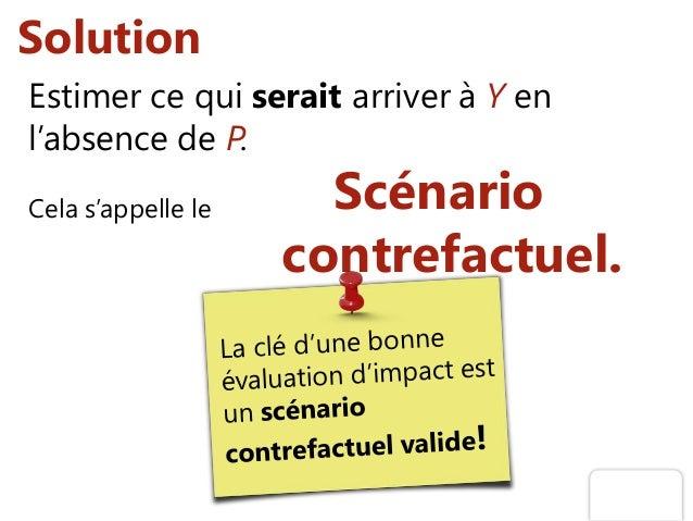 Solution Estimer ce qui serait arriver à Y en l'absence de P. Cela s'appelle le Scénario contrefactuel.