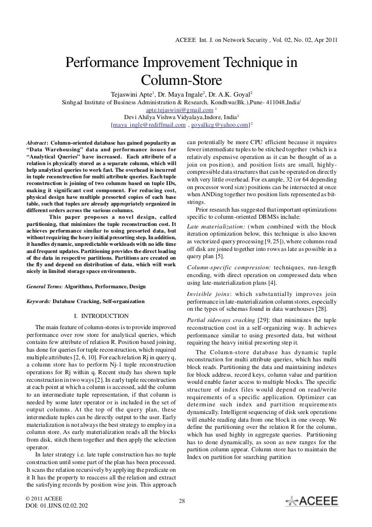 ACEEE Int. J. on Network Security , Vol. 02, No. 02, Apr 2011                Performance Improvement Technique in         ...