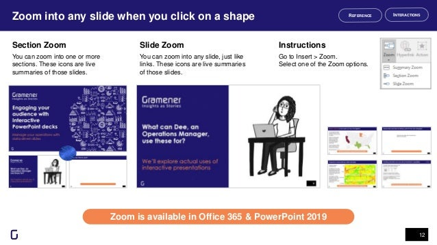 Zoom into any slide when you click on a shape 12 Zoom is available in Office 365 & PowerPoint 2019 INTERACTIONSREFERENCE S...