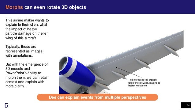 Morphs can even rotate 3D objects 24 This increased the erosion under the left wing, leading to higher resistance. This ai...