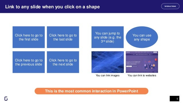Link to any slide when you click on a shape 5 This is the most common interaction in PowerPoint INTERACTIONS Click here to...