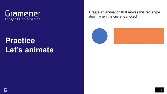 Practice Let's animate 8 Create an animation that moves this rectangle down when the circle is clicked.