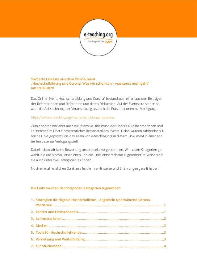 """Sortierte Linkliste aus dem Online-Event """"Hochschulbildung und Corona: Was wir schon tun – was sonst noch geht"""" am 19.03.2..."""