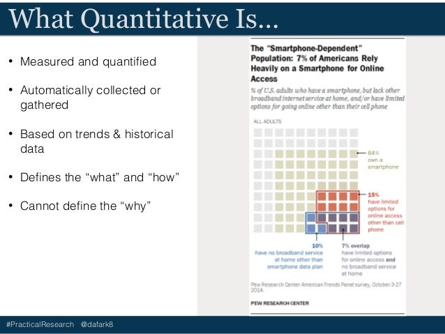 #PracticalResearch @dafark8 What Quantitative Is Not… • Why something is working • How something is broken • Trends. Only ...