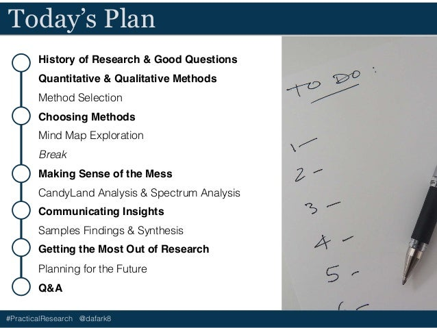 #PracticalResearch @dafark8 History of Research & Good Questions Quantitative & Qualitative Methods Method Selection Choos...