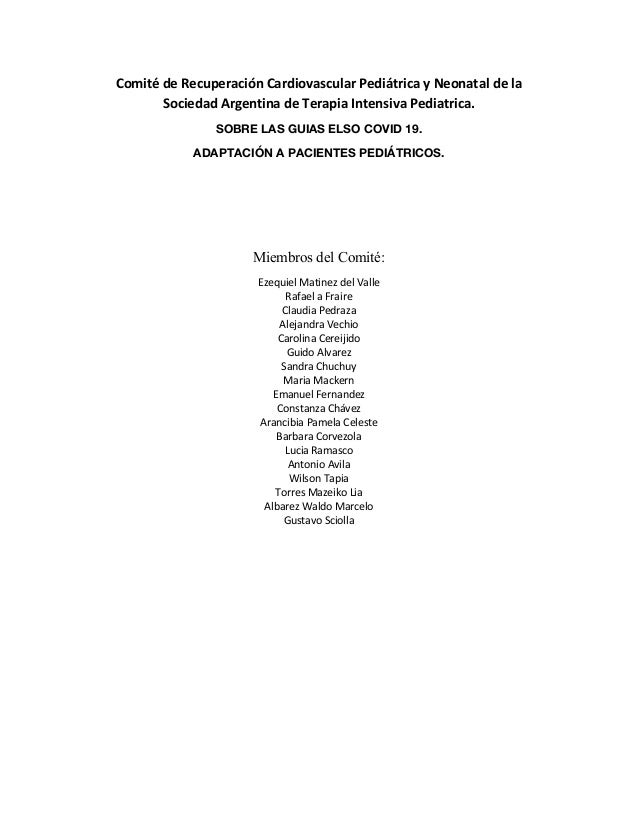 Comité de Recuperación Cardiovascular Pediátrica y Neonatal de la Sociedad Argentina de Terapia Intensiva Pediatrica. SOBR...