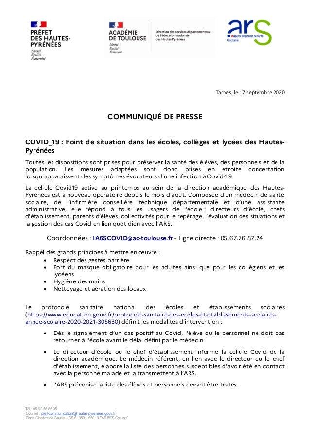 Tarbes, le 17 septembre 2020 COMMUNIQUÉ DE PRESSE COVID_19 : Point de situation dans les écoles, collèges et lycées des Ha...