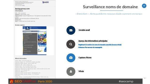 25 Surveillance noms de domaine « Brand Alert » : Alerte quotidienne nouveaux dépôts reprenant une marque Livrable email A...