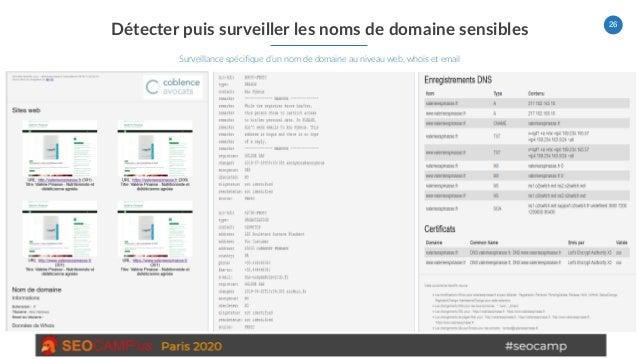 26 Détecter puis surveiller les noms de domaine sensibles Surveillance spécifique d'un nom de domaine au niveau web, whois...