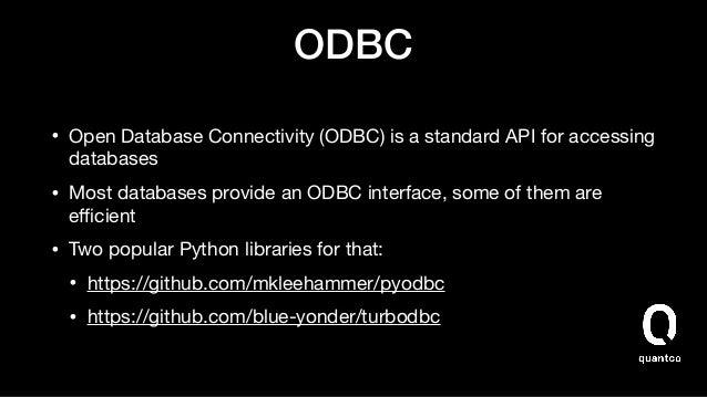JDBC • Blogged about this at: https://uwekorn.com/2019/11/17/fast-jdbc- access-in-python-using-pyarrow-jvm.html  • Not yet...