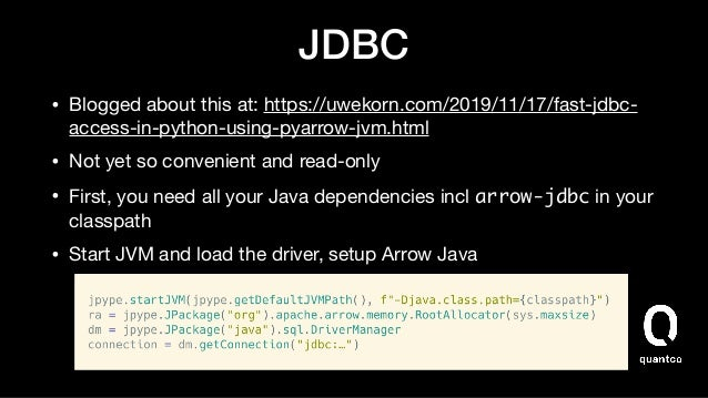 API troubles • pandas' simple API:    • turbodbc