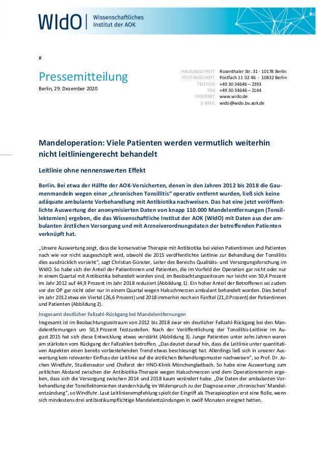 # Pressemitteilung Berlin, 29. Dezember 2020 HAUSANSCHRIFT POSTANSCHRIFT TELEFON FAX INTERNET E-MAIL Rosenthaler Str. 31 ·...