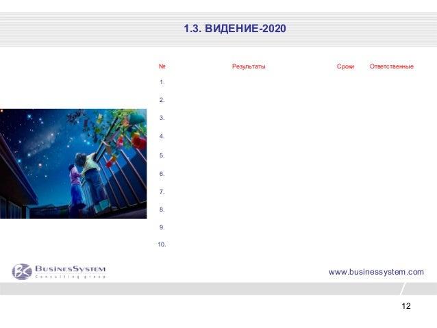12 № Результаты Сроки Ответственные 1. 2. 3. 4. 5. 6. 7. 8. 9. 10. www.businessystem.com 1.3. ВИДЕНИЕ-2020