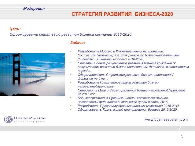 5 www.businessystem.com Модерация СТРАТЕГИЯ РАЗВИТИЯ БИЗНЕСА-2020 Цель: Сформировать стратегию развития бизнеса компании 2...