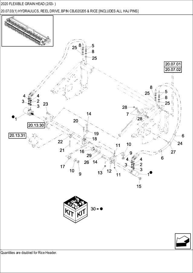CASE 2020 Flexible grain head parts catalog