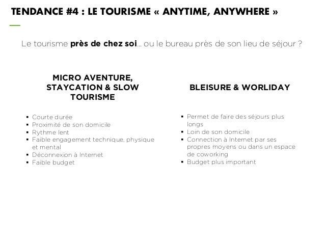 Le tourisme près de chez soi… ou le bureau près de son lieu de séjour ? TENDANCE #4 : LE TOURISME « ANYTIME, ANYWHERE » MI...
