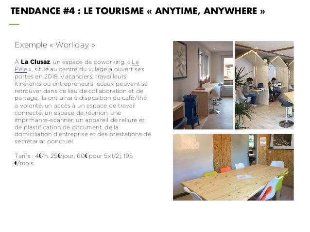 TENDANCE #4 : LE TOURISME « ANYTIME, ANYWHERE » Exemple « Worliday » À La Clusaz, un espace de coworking, « Le Pêle », sit...