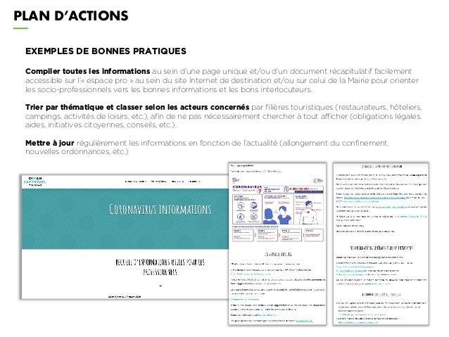 PLAN D'ACTIONS EXEMPLES DE BONNES PRATIQUES Compiler toutes les informations au sein d'une page unique et/ou d'un document...