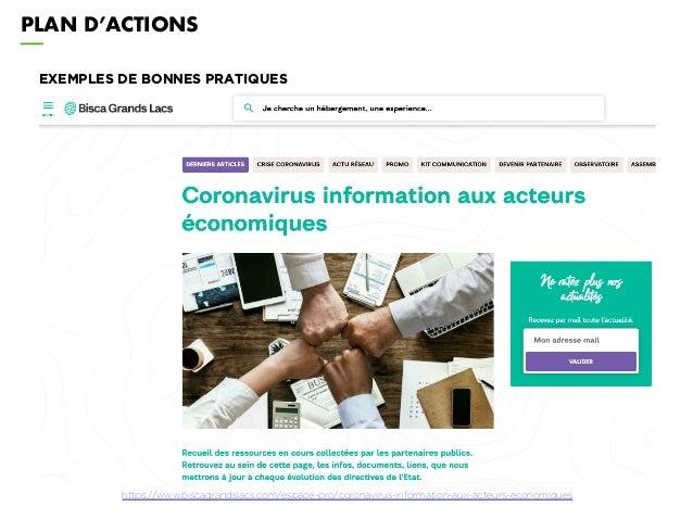 PLAN D'ACTIONS EXEMPLES DE BONNES PRATIQUES https://www.biscagrandslacs.com/espace-pro/coronavirus-information-aux-acteurs...