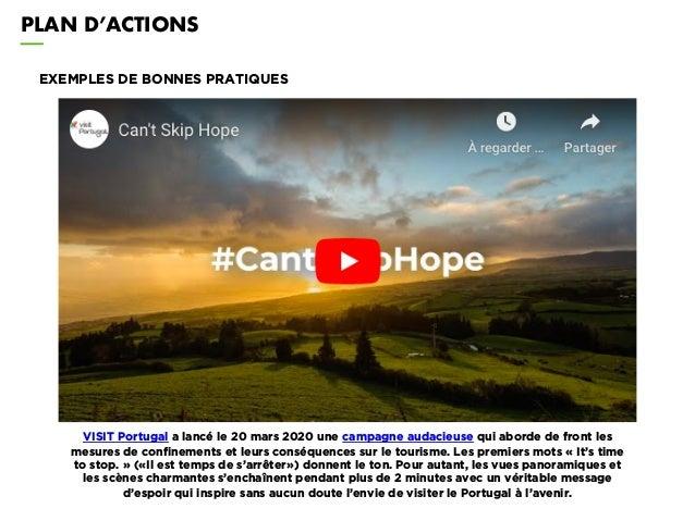 PLAN D'ACTIONS EXEMPLES DE BONNES PRATIQUES VISIT Portugal a lancé le 20 mars 2020 une campagne audacieuse qui aborde de f...