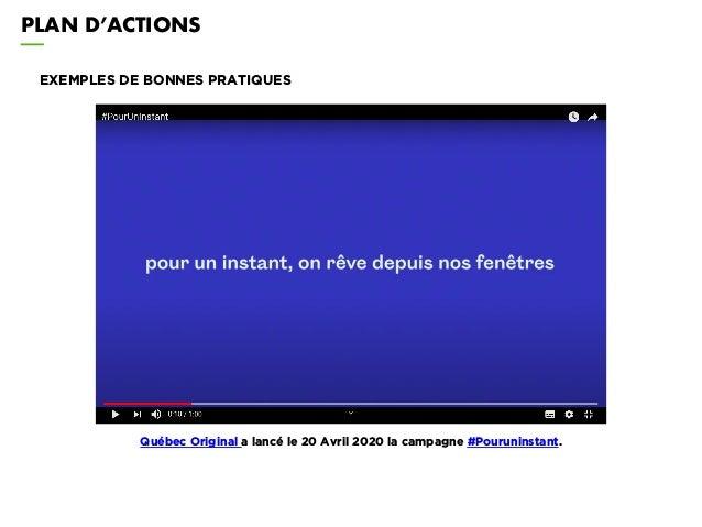 PLAN D'ACTIONS EXEMPLES DE BONNES PRATIQUES Québec Original a lancé le 20 Avril 2020 la campagne #Pouruninstant.