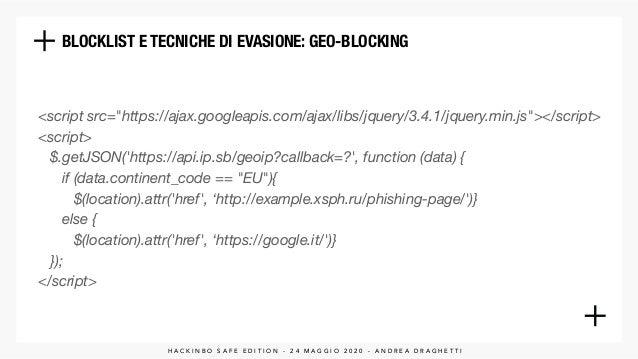 BLOCKLIST E TECNICHE DI EVASIONE: GEO-BLOCKING H A C K I N B O S A F E E D I T I O N - 2 4 M A G G I O 2 0 2 0 - A N D R E...