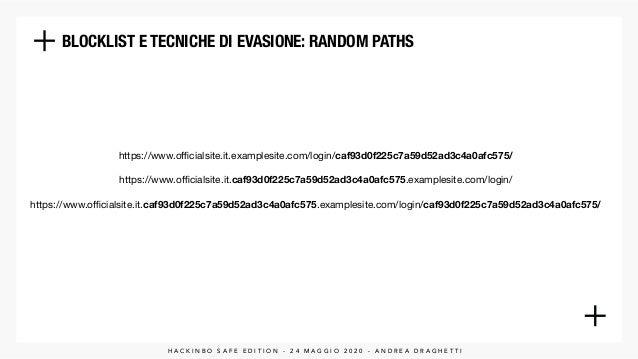 BLOCKLIST E TECNICHE DI EVASIONE: RANDOM PATHS https://www.officialsite.it.examplesite.com/login/caf93d0f225c7a59d52ad3c4a0a...