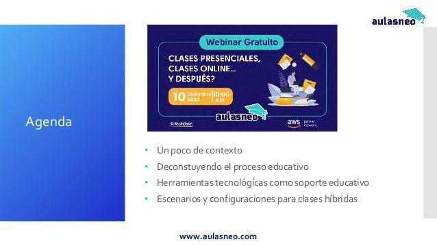 • Un poco de contexto • Deconstuyendo el proceso educativo • Herramientas tecnológícas como soporte educativo • Escenarios...