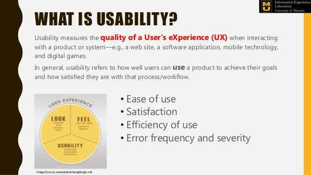 WHAT IS USABILITY? Usability measures the quality of a User's eXperience (UX) when interacting with a product or system—e....