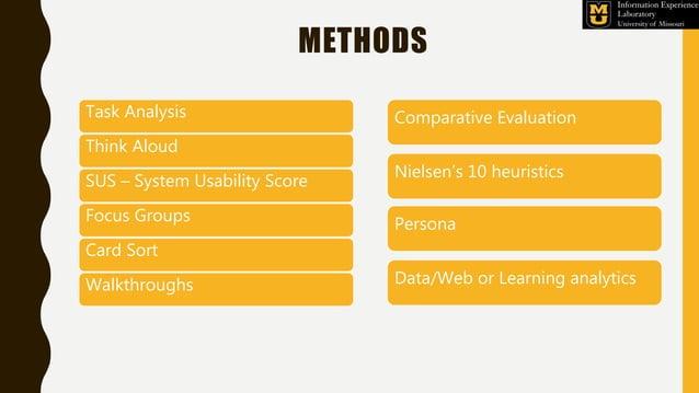 METHODS Task Analysis Think Aloud SUS – System Usability Score Focus Groups Card Sort Walkthroughs Comparative Evaluation ...