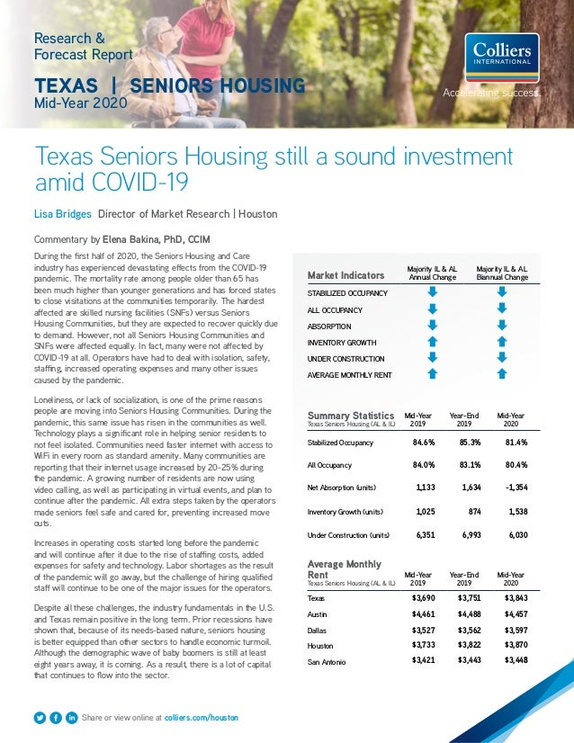 Research & Forecast Report TEXAS   SENIORS HOUSING Mid-Year 2020 Texas Seniors Housing still a sound investment amid COVID...