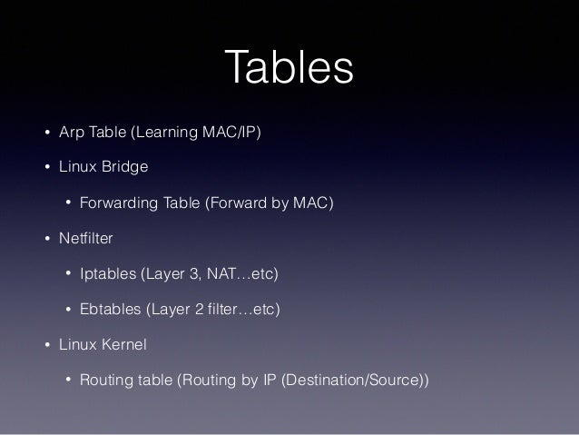 Tables • Arp Table (Learning MAC/IP) • Linux Bridge • Forwarding Table (Forward by MAC) • Netfilter • Iptables (Layer 3, NA...